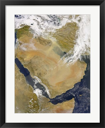 Framed Dust and Smoke over Iraq and the Middle East Print