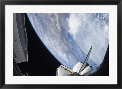 Framed Part of Space shuttle Discovery Backdropped against the Pacific Coast of California Print