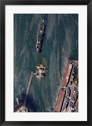 Framed Aerial view of Port-au-Prince Harbor in Haiti Print