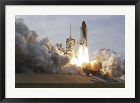 Framed Space Shuttle from Kennedy Space Center Takes Off Print
