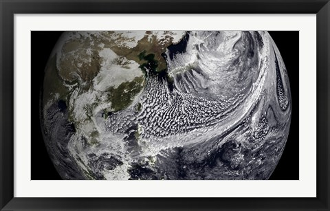 Framed January 2, 2009 - Cloud Simulation of a Single Day Centered Over the Western Pacific Print