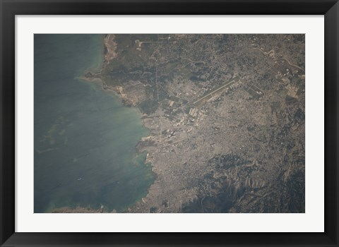 Framed Aerial view of the Port-au-Prince area of Haiti Print