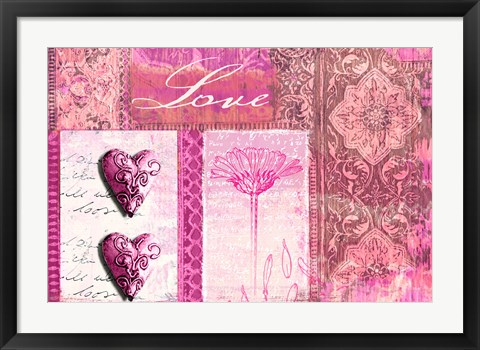 Framed Home Love Pink Print
