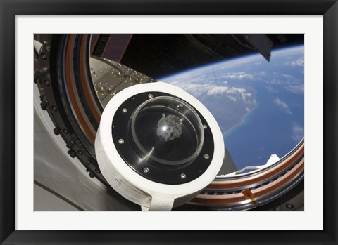 Framed moon rock floats aboard the International Space Station Print