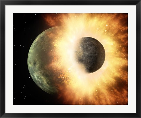 Framed Artist's Concept of a Celestial Body Colliding into a Planet Sized Body Print