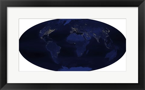Framed Earth's Human-Generated Nighttime Lights for the Calendar Year 2003 Print