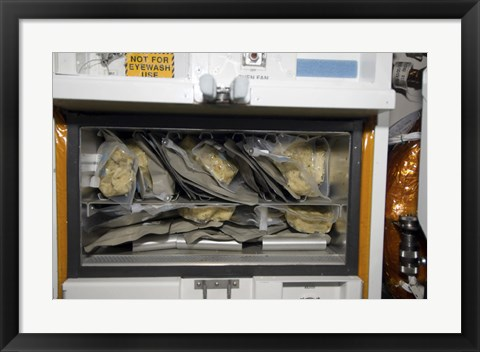 Framed Bags of Food Stored Inside the Galley on Space Shuttle Endeavour Print