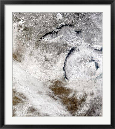 Framed Cloud Streets over Lake Superior and Lake Michigan Print