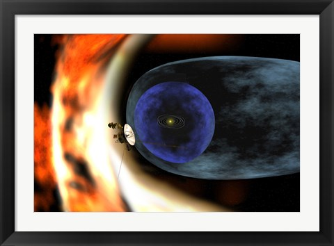 Framed Voyager 2 Spacecraft Studies the Outer Limits of the Heliosphere Print