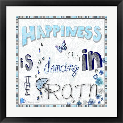 Framed Happiness Is Dancing In The Rain - Colored In 2 Print