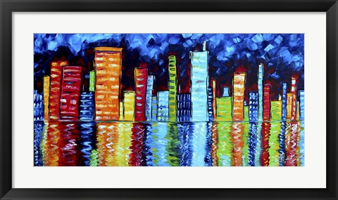 Framed City Nights II Print