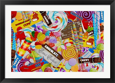 Framed Candy Collage 2 Print