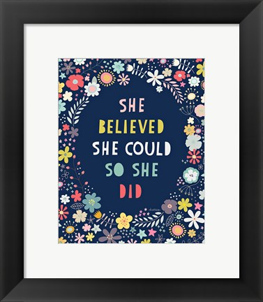 Framed Floral Quote I Indigo Print