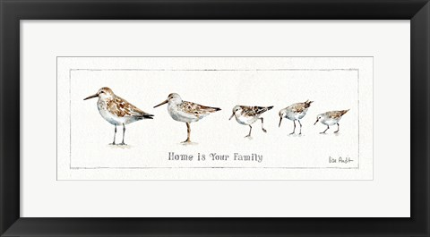 Framed Pebbles and Sandpipers IX Print