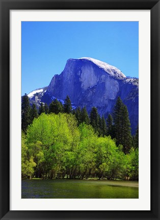 Framed View of Half Dome rock and Merced River, Yosemite National Park, California Print