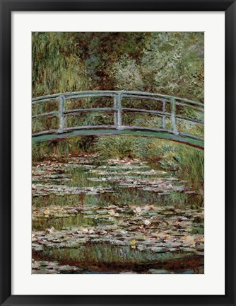 Framed Waterlily Pond, Japanese Bridge Print
