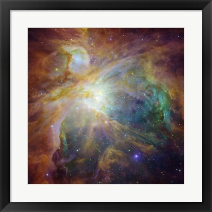 Framed Spitzer and Hubble Create Colorful Masterpiece Print