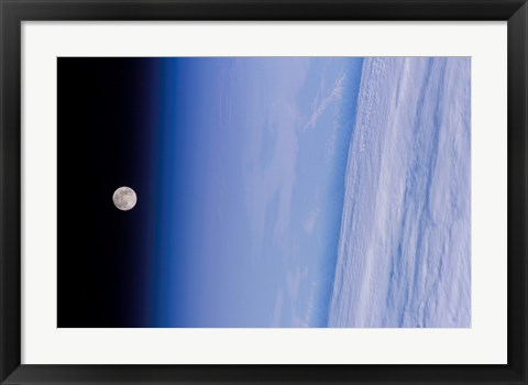 Framed Full Moon is Visible in this view Above Earth's Horizon and Airglow Print