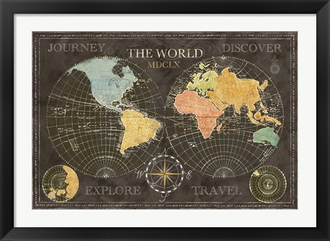 Framed Old World Journey Map Black Print