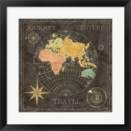 Framed Old World Journey Map Black II Print