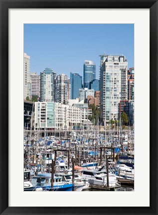 Framed Marina on False Creek, Downtown Vancouver, BC, Canada Print