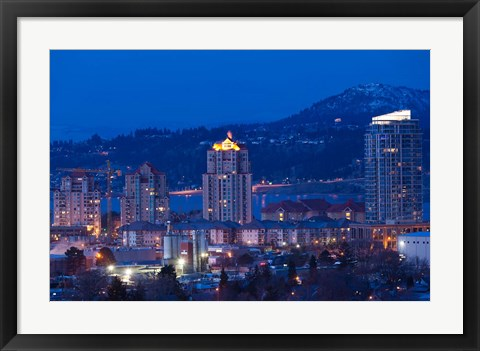 Framed British Columbia, Okanagan Valley, Kelowna Skyline Print