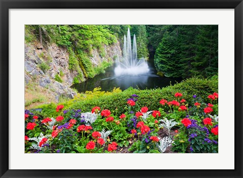 Framed Butchart Gardens Water Fall, Victoria, British Columbia, Canada Print