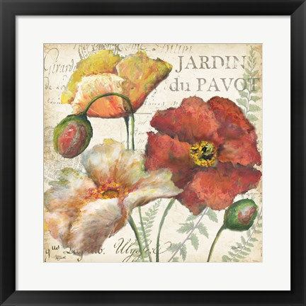 Framed Spice Poppies Histoire Naturelle II Print