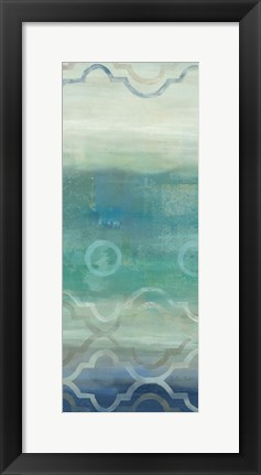 Framed Abstract Waves Blue/Gray Panel I Print