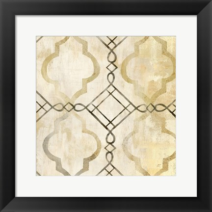 Framed Abstract Waves Black/Gold Tiles I Print