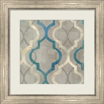 Framed Abstract Waves Blue/Gray Tiles III Print