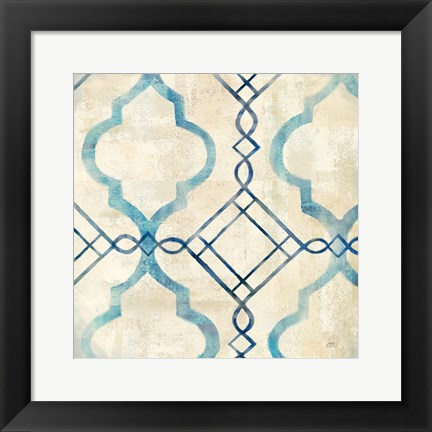 Framed Abstract Waves Blue/Gray Tiles IV Print