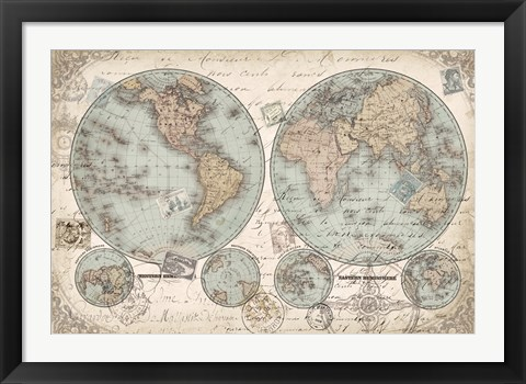Framed World Hemispheres Print