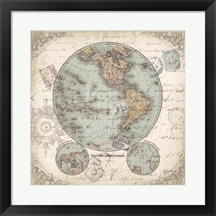 Framed World Hemispheres II Print