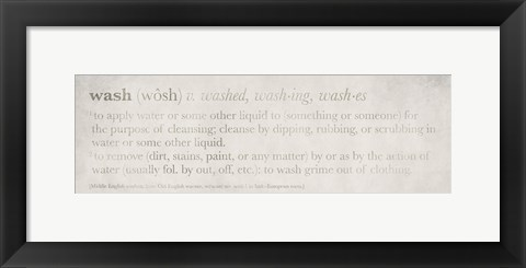 Framed Definitions Wash Print