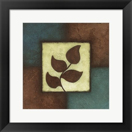 Framed Blue Brown Green Leaves Mate Print