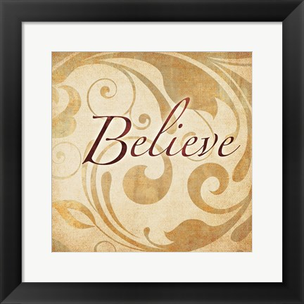 Framed Red Gold Believe 2 Print