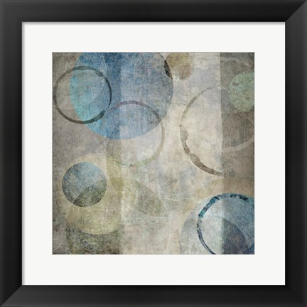 Framed Stone Circles Blue Mate 1 Print