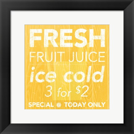 Framed Fresh Juice Yellow Print