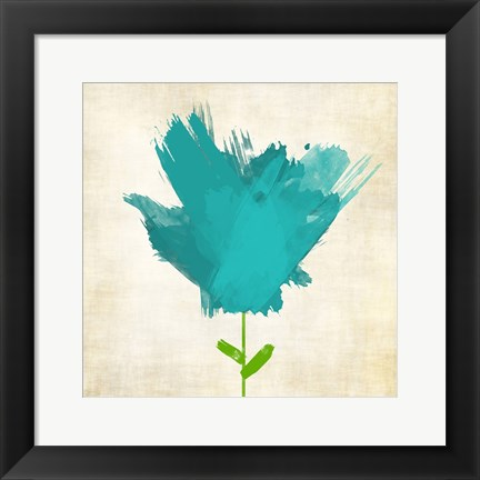 Framed Brush Stroke Flowers Blue Mate Print