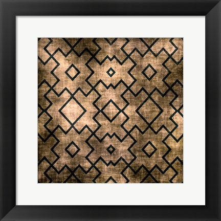 Framed Black on Beige Pattern Print