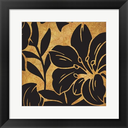 Framed Black and Gold Flora 2 Print
