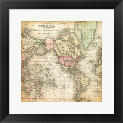 Framed World Map 4 Print