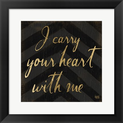 Framed Chevron Sentiments Black/Gold I Print