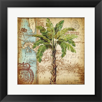 Framed Antique Nautical Palms I Print