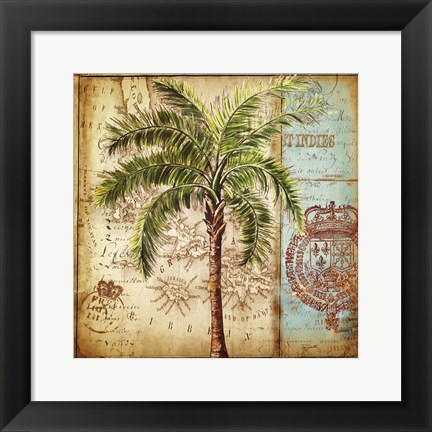 Framed Antique Nautical Palms II Print