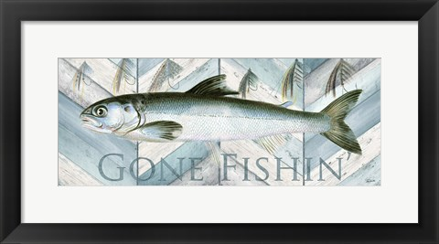 Framed Fishing Sign II Print
