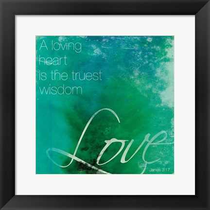 Framed Watercolor Love Quoted Print