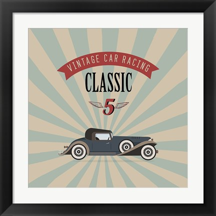 Framed Vintage Racing 4 Print