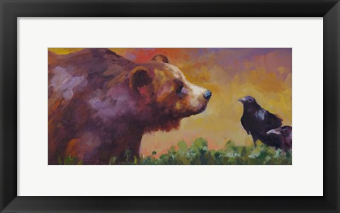 Framed Bear and Birds Print